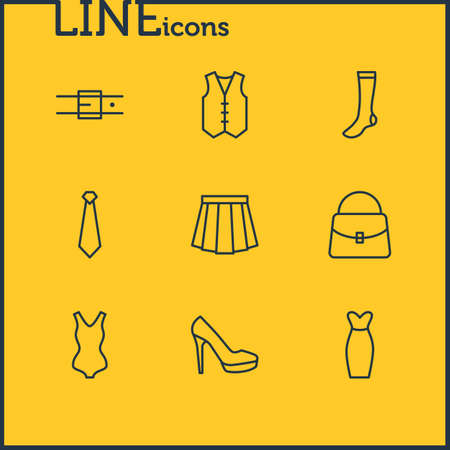 Vector Illustration Of 9 Garment Icons. Editable Pack Of Handbag, Swimwear, Apparel Elements.