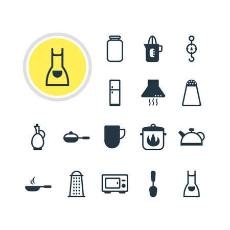 homemaker: Vector Illustration Of 16 Cooking Icons. Editable Pack Of Oven, Refrigerator, Steelyard And Other Elements. Illustration