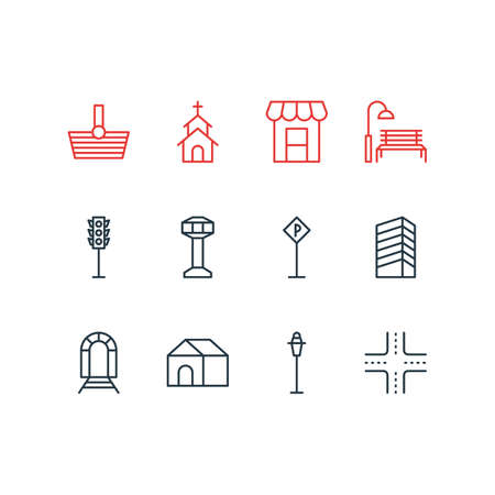 Vector Illustration Of 12 Urban Icons. Editable Pack Of Basket, Building, Control Tower And Other Elements.