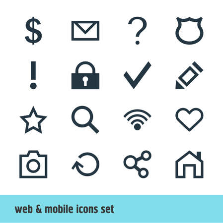 interjection: Vector Illustration Of 16 User Icons. Editable Pack Of Cordless Connection, Pen, Alert And Other Elements. Illustration