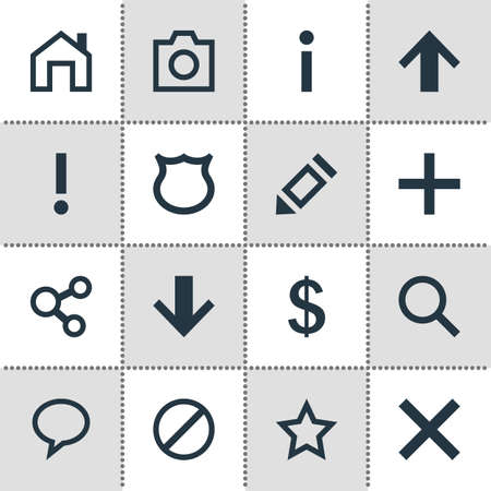 Vector Illustration Of 16 Member Icons. Editable Pack Of Mainpage, Magnifier, Access Denied And Other Elements. Illustration