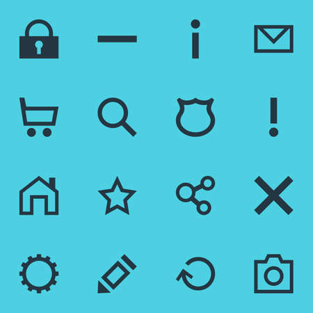 interjection: Vector Illustration Of 16 Interface Icons. Editable Pack Of Mainpage, Letter, Minus And Other Elements. Illustration