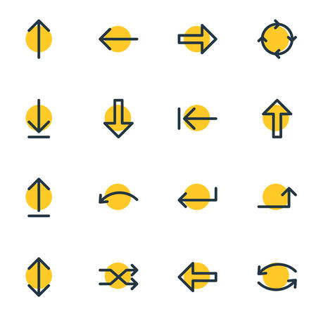 Vector Illustration Of 16 Sign Icons. Editable Pack Of Exchange, Turn, Left And Other Elements.