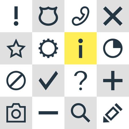 Vector Illustration Of 16 Interface Icons. Editable Pack Of Snapshot , Handset, Cogwheel Elements. 向量圖像