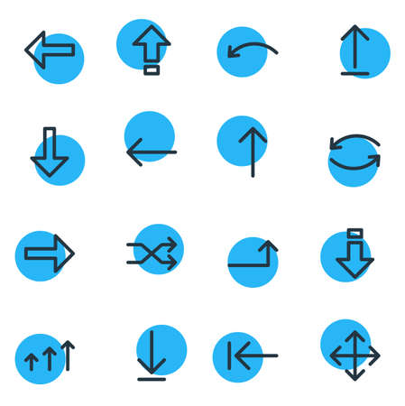 Vector Illustration Of 16 Direction Icons. Editable Pack Of Right, Raise, Download And Other Elements.