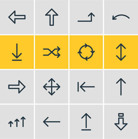 Vector Illustration Of 16 Sign Icons. Editable Pack Of Exchange, Right, Increase And Other Elements. Illustration