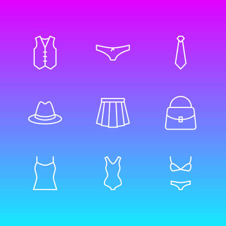 Vector Illustration Of 9 Clothes Icons. Editable Pack Of Waistcoat, Swimsuit, Fedora And Other Elements.