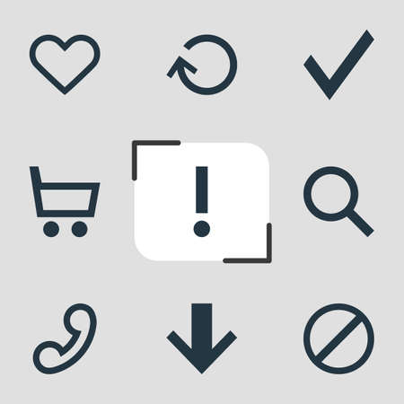 telephonic: Vector Illustration Of 9 Interface Icons. Editable Pack Of Magnifier, Heart, Handset Elements.