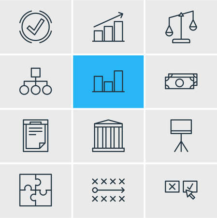 scale: Vector Illustration Of 12 Management Icons. Editable Pack Of File, Scheme, Building And Other Elements.