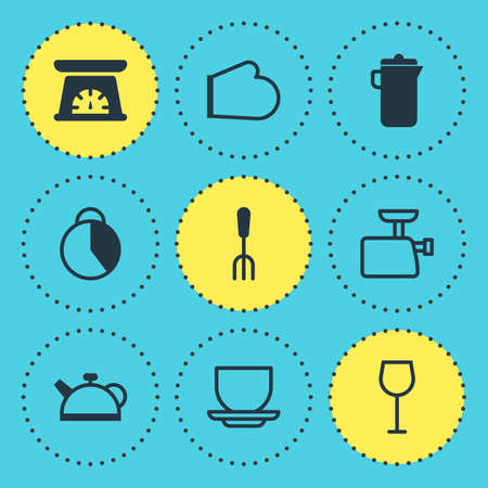 scale: Vector Illustration Of 9 Kitchenware Icons. Editable Pack Of Timekeeper, Oven Mitts, Coffee Cup And Other Elements.