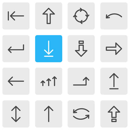 Vector Illustration Of 16 Direction Icons. Editable Pack Of Raise, Increase, Shrift And Other Elements.