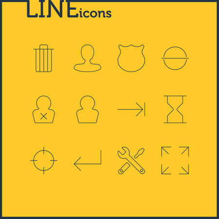 Vector Illustration Of 12 User Icons. Editable Pack Of Avatar, Tabulation Button, Banned Member And Other Elements. 일러스트