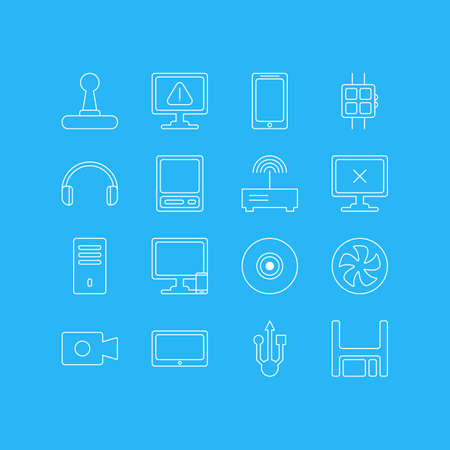 Vector Illustration Of 16 Computer Icons. Editable Pack Of Pda, Movie Cam, Tablet And Other Elements.