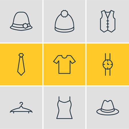 suspender: Vector Illustration Of 9 Garment Icons. Editable Pack Of Waistcoat, Panama, Singlet And Other Elements.