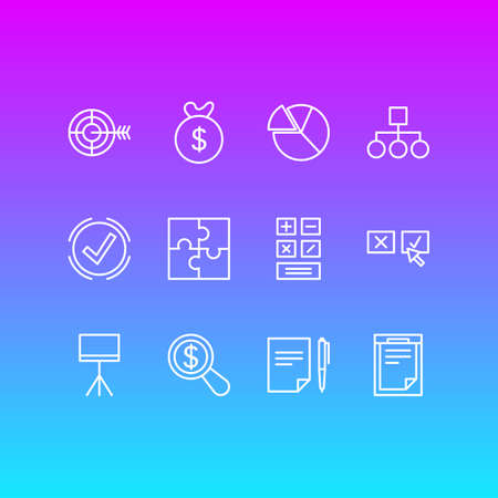 Vector Illustration Of 12 Business Icons. Editable Pack Of Riddle, Agreement, Calculate And Other Elements. Illustration