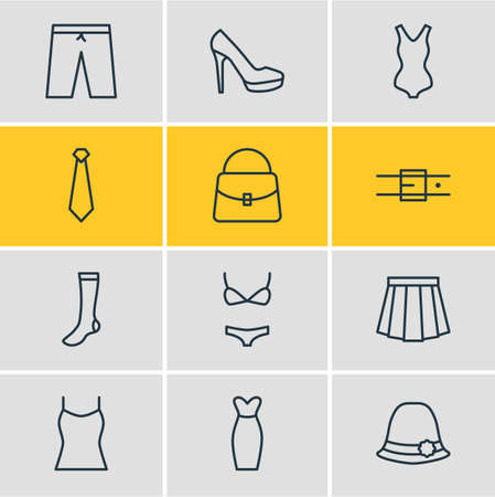 petticoat: Vector Illustration Of 12 Clothes Icons. Editable Pack Of Strap, Handbag, Swimsuit Elements.