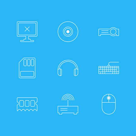 Vector Illustration Of 9 Notebook Icons. Editable Pack Of Memory Chip, Headsets, Qwerty Board And Other Elements.