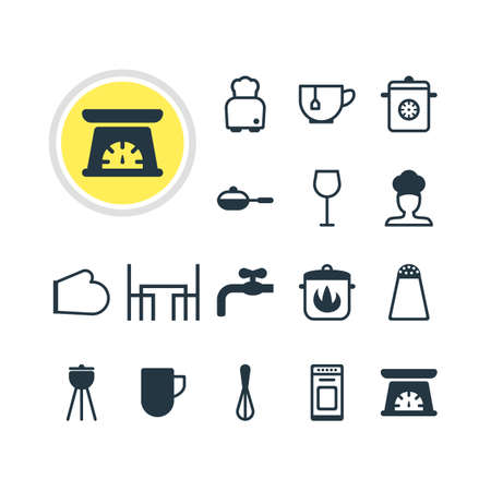 browning: Vector Illustration Of 16 Cooking Icons. Editable Pack Of Stewpot, Faucet, Cook And Other Elements. Illustration
