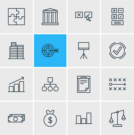 introducing: Vector Illustration Of 16 Management Icons. Editable Pack Of Board Stand, Tactics, Graph Elements.