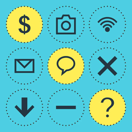 Vector Illustration Of 9 User Icons. Editable Pack Of Help, Wrong, Cordless Connection And Other Elements.