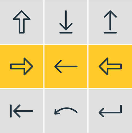 Vector Illustration Of 9 Direction Icons. Editable Pack Of Left, Tab, Turn And Other Elements.