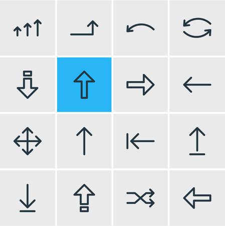 scale: Vector Illustration Of 16 Arrows Icons. Editable Pack Of Update, Down, Up And Other Elements.