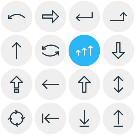 Vector Illustration Of 16 Arrows Icons. Editable Pack Of Tab, Increase, Shrift And Other Elements.