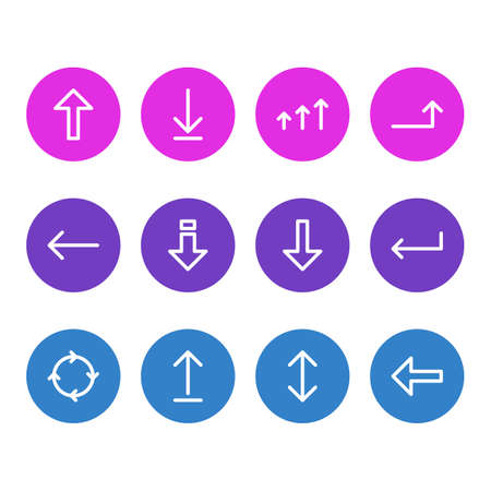 Vector Illustration Of 12 Sign Icons. Editable Pack Of Direction, Download, Increase And Other Elements.