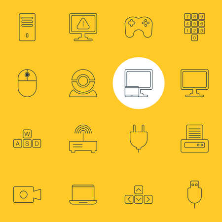 Vector Illustration Of 16 Notebook Icons. Editable Pack Of Printer, Serial Bus, Cursor Manipulator And Other Elements.