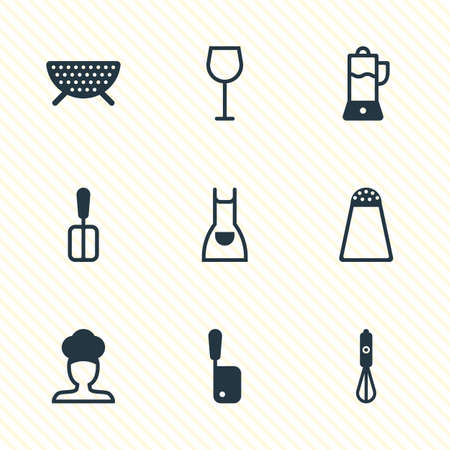 percolate: Vector Illustration Of 9 Restaurant Icons. Editable Pack Of Butcher Knife, Handmixer, Sieve Elements.