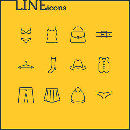 Vector Illustration Of 12 Clothes Icons. Editable Pack Of Singlet, Swimming Trunks, Apparel And Other Elements. 向量圖像
