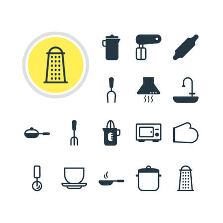 coking: Vector Illustration Of 16 Cooking Icons. Editable Pack Of Frying Pan, Oven, Fork And Other Elements.
