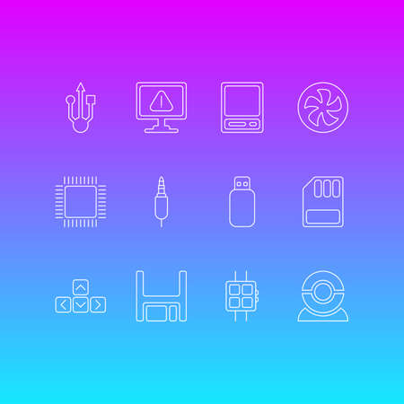 Vector Illustration Of 12 Notebook Icons. Editable Pack Of Keypad, Storage, Modern Watch And Other Elements. Illustration