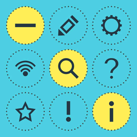 interjection: Vector Illustration Of 9 Member Icons. Editable Pack Of Info, Alert, Asterisk And Other Elements.