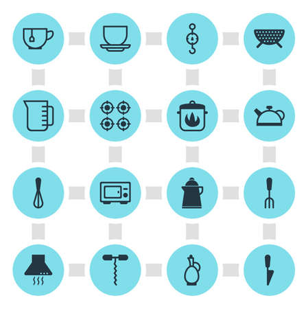 Vector Illustration Of 16 Kitchenware Icons. Editable Pack Of Carafe, Fork, Sieve And Other Elements.