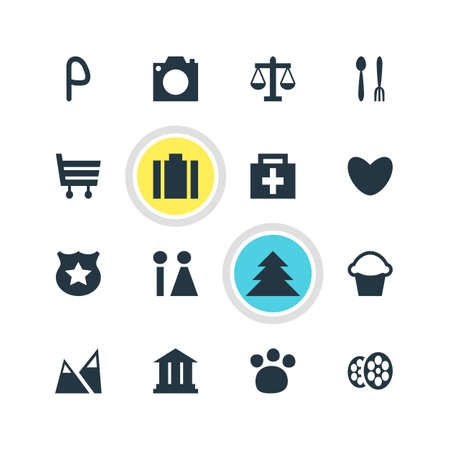 Vector Illustration Of 16 Check-In Icons. Editable Pack Of Toilet, Photo Device, Briefcase And Other Elements. Illustration