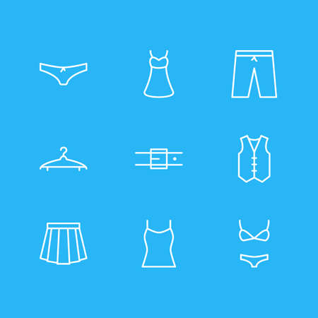 petticoat: Vector Illustration Of 9 Dress Icons. Editable Pack Of Strap, Cloakroom, Swimsuit And Other Elements.
