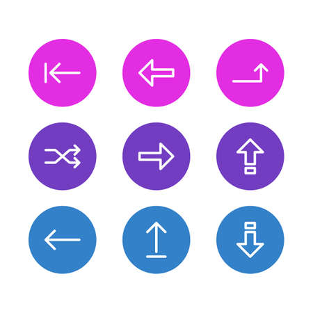 Vector Illustration Of 9 Sign Icons. Editable Pack Of Submit , Down , Randomize Elements.