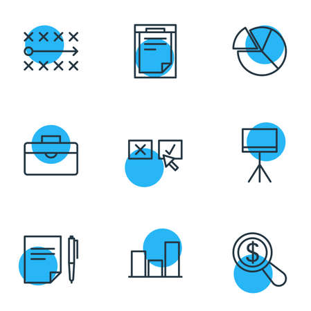 Vector Illustration Of 9 Management Icons. Editable Pack Of Agreement , Board Stand, File Elements. Illustration
