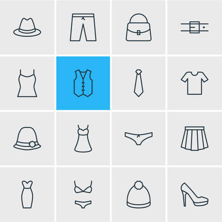 Vector Illustration Of 16 Dress Icons. Editable Pack Of Cravat, Panama, Handbag Elements.