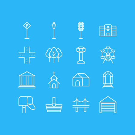 edifice: Vector Illustration Of 16 Public Icons. Editable Pack Of Basket, Building, Semaphore And Other Elements.