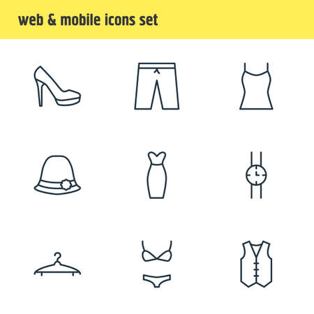 suspender: Vector Illustration Of 9 Dress Icons. Editable Pack Of Sarafan, Swimming Trunks, Cloakroom And Other Elements. Illustration