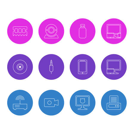 Vector Illustration Of 12 Laptop Icons. Editable Pack Of Movie Cam, Tablet With PC, Objective And Other Elements.