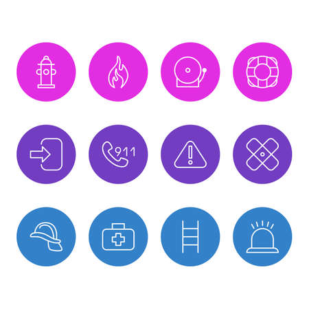 Vector Illustration Of 12 Emergency Icons. Editable Pack Of Lifesaver, Medical Case, Hardhat And Other Elements.