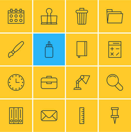 illuminator: Vector Illustration Of 16 Tools Icons. Editable Pack Of Illuminator, Portfolio, Copybook And Other Elements.