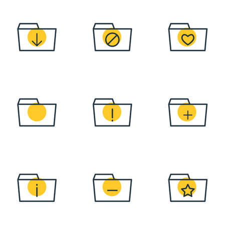 Vector Illustration Of 9 Document Icons. Editable Pack Of Pinned, Upload, Liked And Other Elements.
