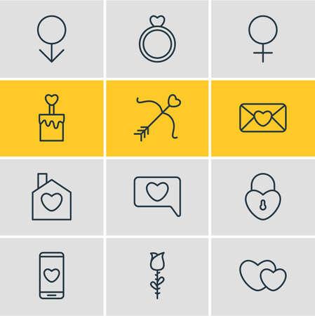 Illustration vectorielle de 12 icônes de la passion. Paquet modifiable de serrure, coeurs, invitation et d'autres éléments.