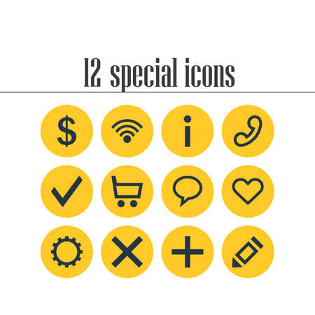 alright: Vector Illustration Of 12 User Icons. Editable Pack Of Pen , Handset, Wrong Elements.