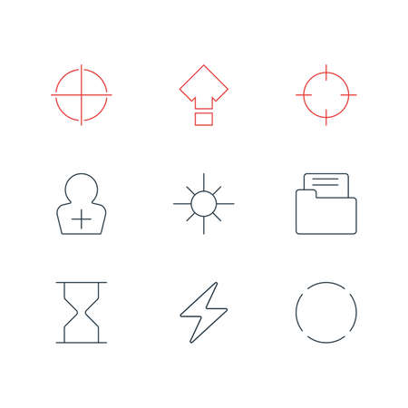focalize: Vector Illustration Of 9 Interface Icons. Editable Pack Of Positive, Displacement, Sunshine And Other Elements.