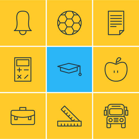 omnibus: Vector Illustration Of 9 Science Icons. Editable Pack Of Jingle, Cap, Portfolio And Other Elements.